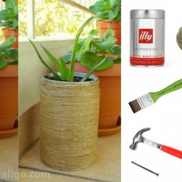 Twine wrapped coffee can flowerpot