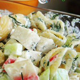 Creamy pasta salad with crab meat